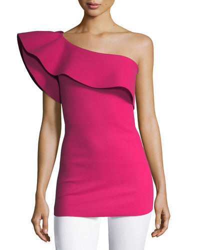Dadie One-Shoulder Sculpted Ruffle Top