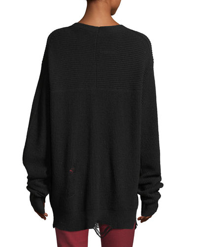 Distressed V-Neck Oversized Wool-Cashmere Sweater