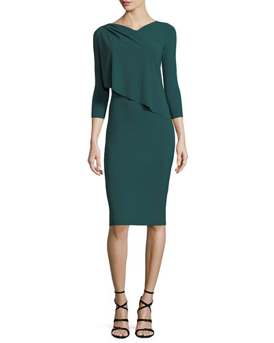 Nubia High-Neck 3/4 Sleeves Fitted Sheath Dress