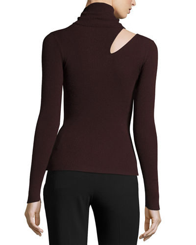Kara Turtleneck Ribbed Sweater w/ Slit Detail