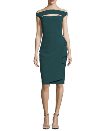 Off-the-Shoulder Cap-Sleeve Cocktail Dress w/ Front Cutout