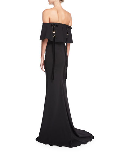Off-the-Shoulder Crepe Evening Gown w/ Velvet Laces