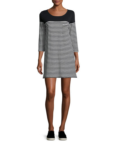 Alyce Striped 3/4-Sleeve T-Shirt Dress