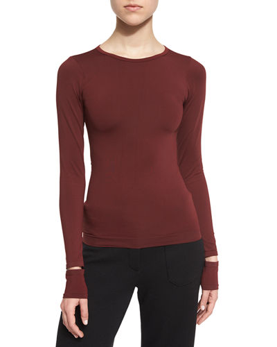 Fitted Slit-Cuff Stretch Jersey Tee
