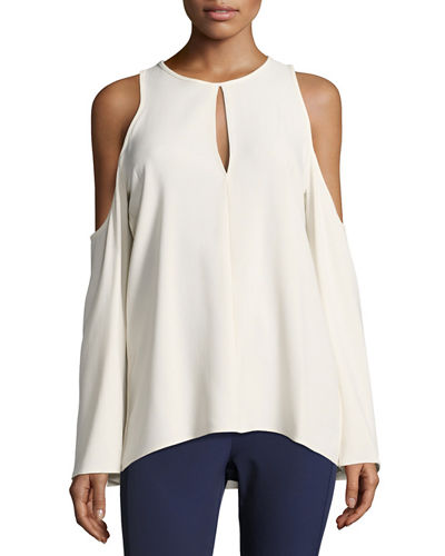 Sarver Rosina Crepe Cold-Shoulder Top