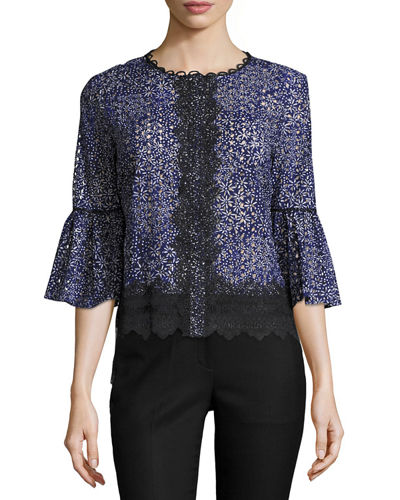 Poppy 3/4-Sleeve Lacy Cotton Eyelet Blouse