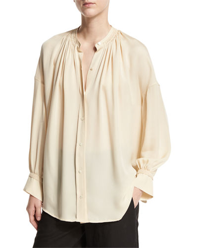Shirred Handstitch Silk Blouse