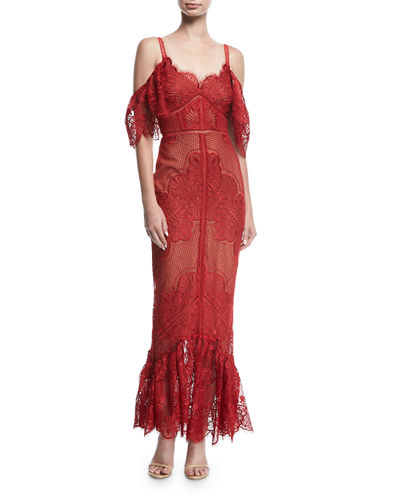 Cold-Shoulder Fitted Guipure Lace Evening Gown