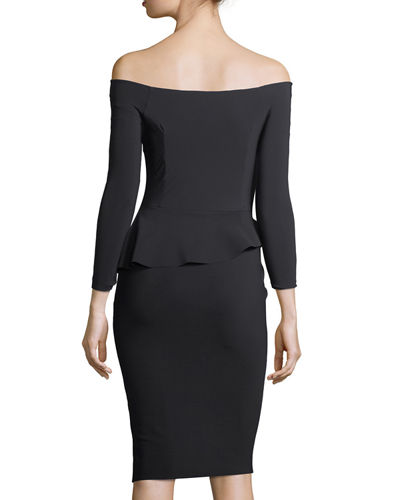 Adela Bateau-Neck Long-Sleeve Cocktail Dress
