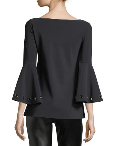 Nelia Bateau-Neck Bell-Sleeve Top