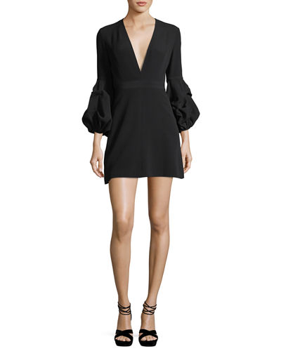Fia Plunging Gathered-Sleeve Crepe Mini Dress