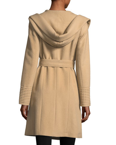 Mid-Length Hooded Alpaca-Wool Wrap Coat