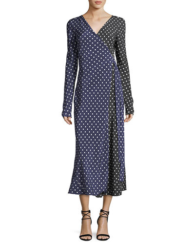 Long-Sleeve Midi Woven Silk Wrap Dress
