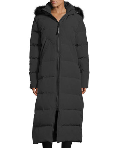 Mystique Long Hooded Puffer Parka Coat w/ Fur Trim