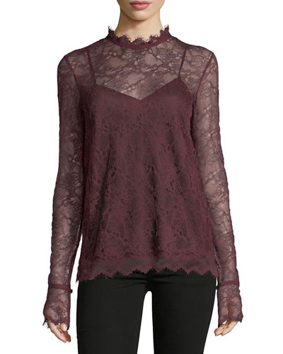 Scalloped Long-Sleeve Lace Top