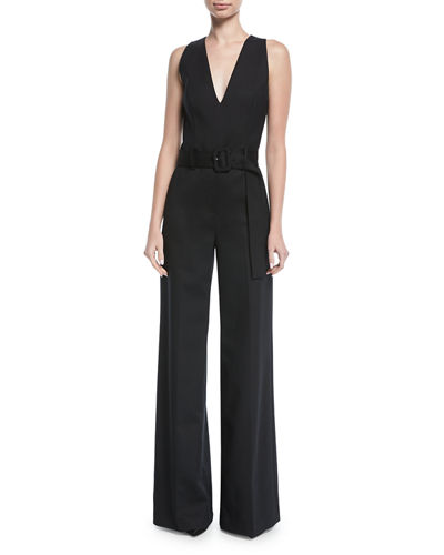 Belted V-Neck Wide-Leg Wool-Blend Jumpsuit
