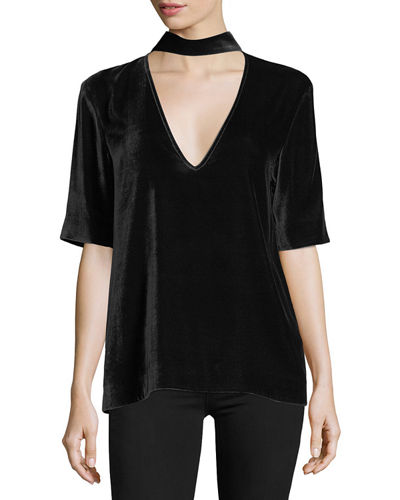 Split-Collar V-Neck Velvet Top