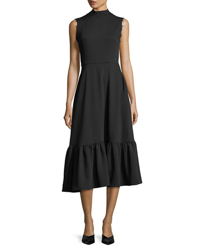 Bridget Mock-Neck Sleeveless Midi Dress