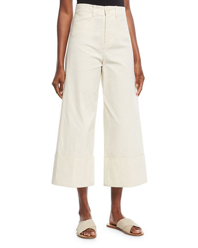 Classic Cuffed Wide-Leg Pants