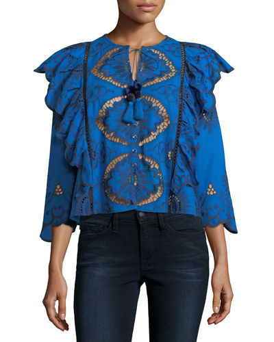 Fiona Open-Stitch Ruffle Blouse
