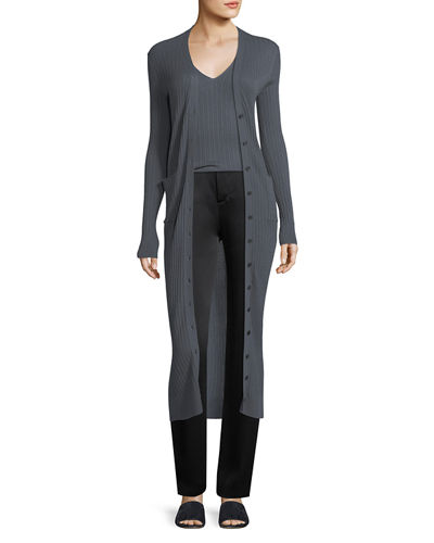 Mixed-Rib Button-Front Long Cashmere Cardigan