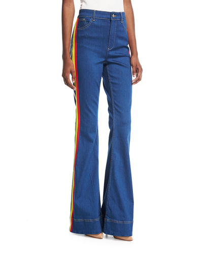 Kayleigh Bell-Bottom Jeans with Side Rainbow Stripes