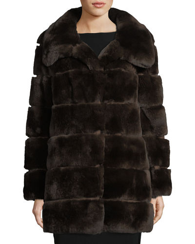 Quilted Fur Silk-Lined Coat