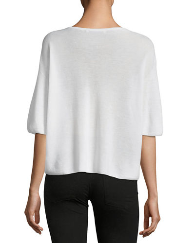 Cashmere Cropped Short-Sleeve Sweater