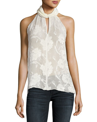 Elastia Floral-Burnout Sleeveless Blouse