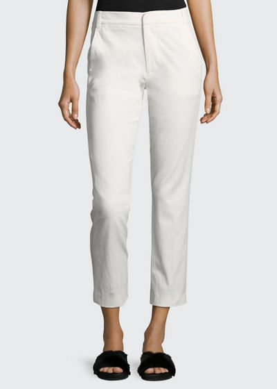 Coin-Pocket Straight-Leg Cropped Chino Pants