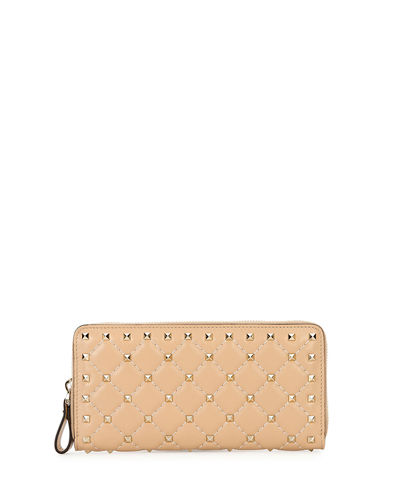 Rockstud Quilted Zip-Around Wallet
