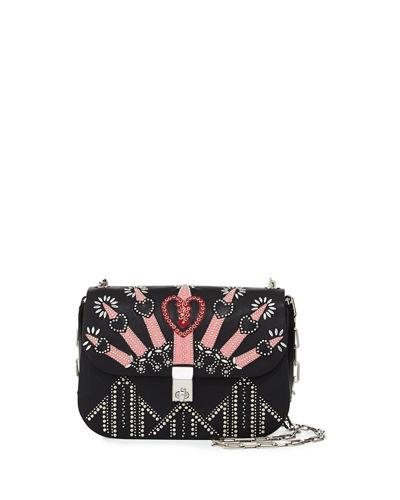 Love Blade Embroidered Shoulder Bag