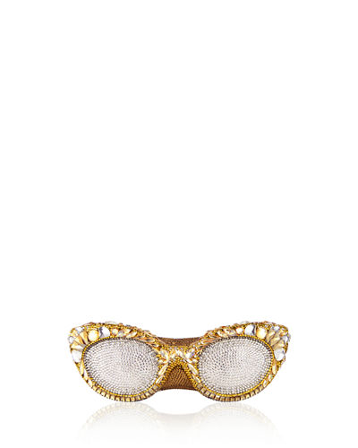Crystal-Embellished Eyeglass Clutch Bag