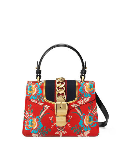 Sylvie Small Floral Top-Handle Satchel Bag
