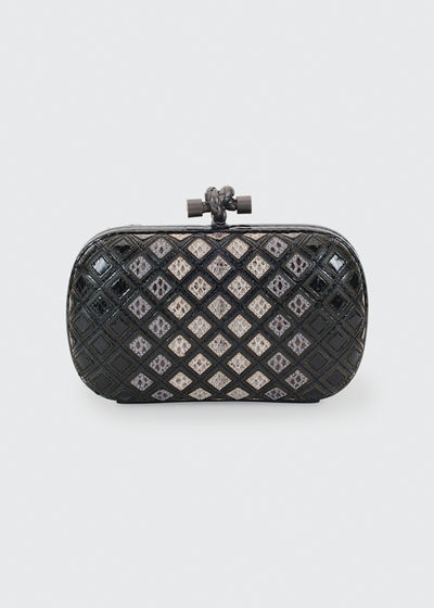 Small Knot Snakeskin Box Clutch Bag