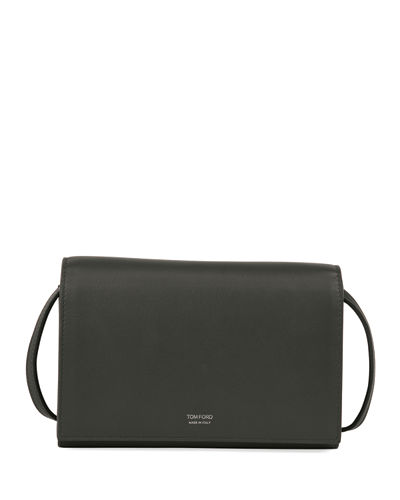 Calf Leather Clutch Bag w/Strap