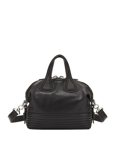 Nightingale Small Leather Biker-Stitch Satchel Bag