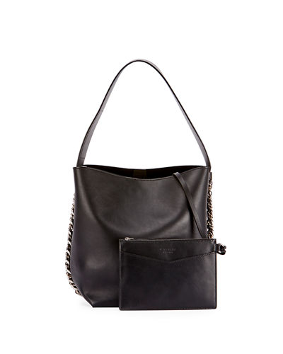 Infinity Calf Leather Chain Bucket Bag