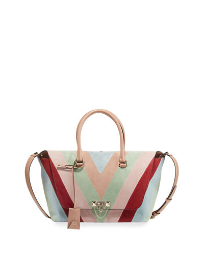 Demilune Small Chevron Suede Tote Bag