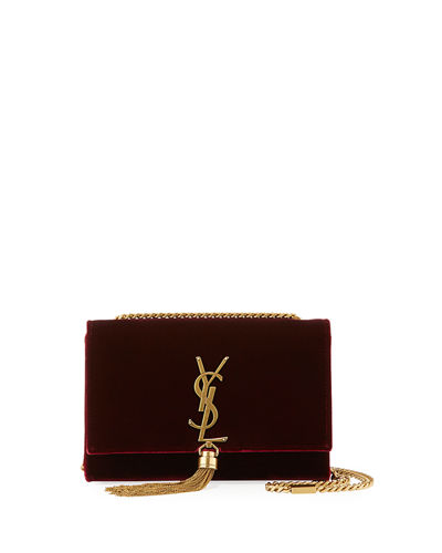 Kate Small Monogram Velvet Tassel Bag
