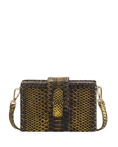 Mandolin Python Box Clutch Bag