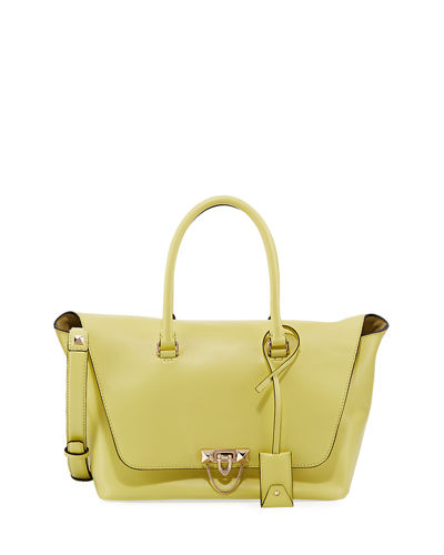 Demilune Leather Double-Handle Tote Bag