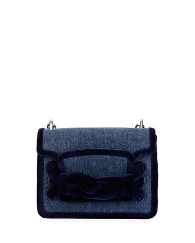 Velvet-Trim Denim Shoulder Bag