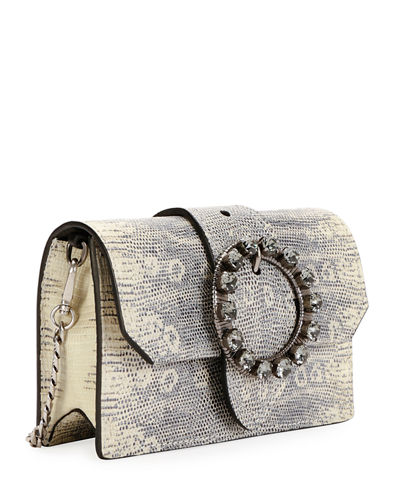 Snake-Embossed Crystal Buckle Clutch Bag