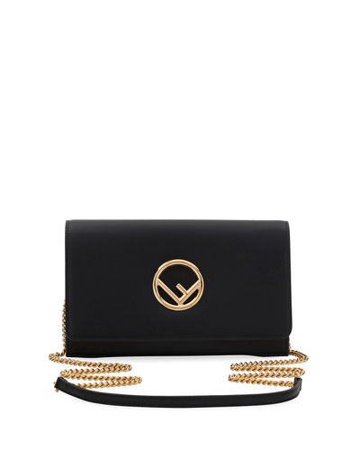 Fendi F Seal Leather Wallet on a Chain