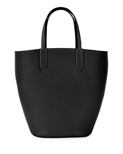Small Leather Basket Tote Bag