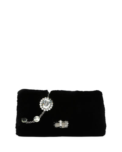 FUR CLUTCH W JEWELED CHAIN S