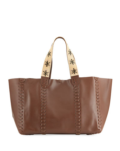 Ithaca East-West Leather Tote Bag