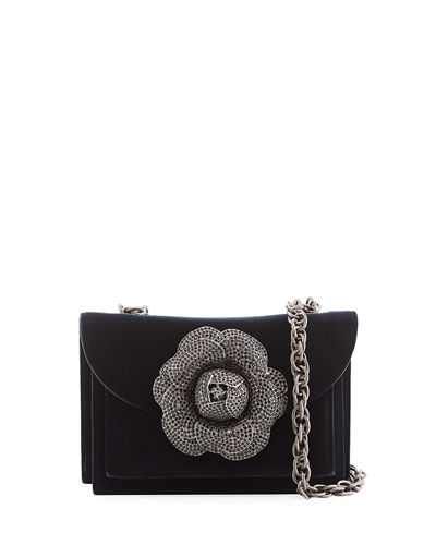 Velvet Rose Chain Crossbody Bag