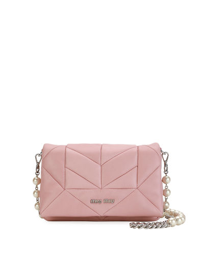 Chevron Napa Pearly Chain Shoulder Bag